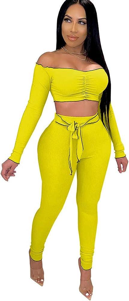 Women's Sexy 2 Piece Outfits Off Shoulder Crop Tops + Split Bodycon Long Pants Set Tracksuit