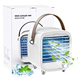 SmartDevil Portable Air Conditioner Fan, Small USB Desktop Air Cooler Fan, Portable Personal Cooling Fan with Night Light, Built-in Ice Tray, Strong Wind, for Home, Office, Bedroom (White)