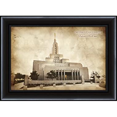 LDS (Mormon) 26.75 x 36.75 Framed Vintage Draper Temple LDS Wall Art