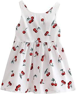 K-youth, Vestido de Tirantes Niñas Verano Niños Ropa de Niña a la Moda Barata 2019 Estampado de Cereza Sin Mangas Vestidos de Princesa Niñas Fiesta Ropa Bebe Niña