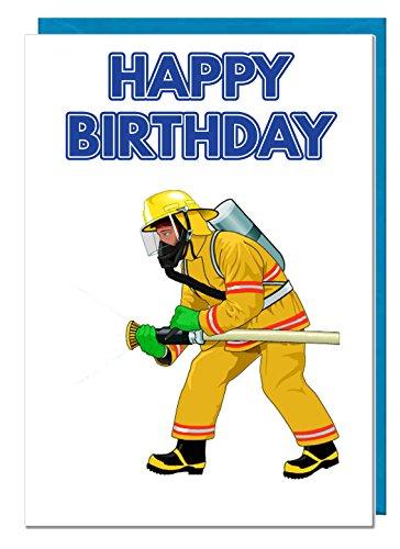 Verjaardagskaart - Brandweerman Brandweerman Themed - Papa - Echtgenoot - Broer - Zoon - Opa - Vriendje