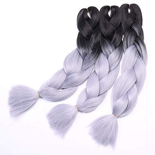 24 Pouce Tresse Cheveux Synthetique Tressage Braiding Hair Extension Cheveux 3Pcs 300g 60CM - #28 Noir à Gris argenté