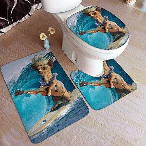 Bad Teppiche Sets 3 Stück Chihuahua Hund Surfen und Spielen Gitarre Bad Kontur Matte Toilettendeckel Abdeckung U-förmig