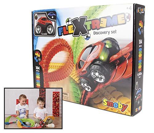 Smoby – Flextreme Autorennbahn Starter Set – 184 Schienen + Rennauto, Rennbahn für Autos, für Kinder ab 4 Jahren, flexible Strecke mit Looping