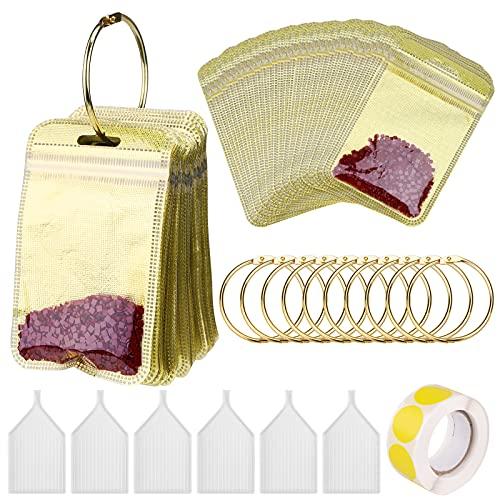 Diamante de Pintura Herramientas con100 bolsas cierre zip dorado y 10 Anillos de Encuadernación redondos dorados bandeja de plástico puntos adhesivos amarillos para el bordado artesanal de bricolaje