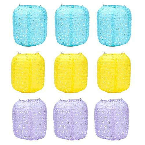 Xiang Ru - Farolillos colgantes de papel para decoración de casa, boda, azul, amarillo y violeta, 20 cm