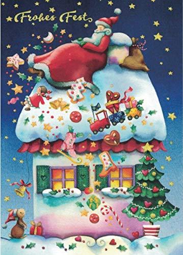 Weihnachtskarte ~ Nina Chen ~ Nikolaus auf Haus ~ Frohes Fest
