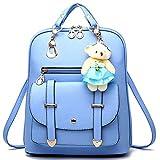 Alice Sky Blue PU Leather Travel Rucksack Women's Shoulder Backpack