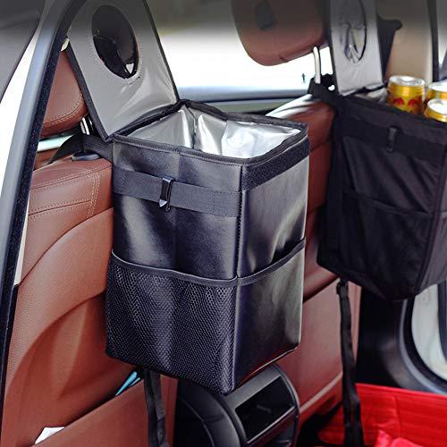 SUNJULY Auto Vuilnisbak Opvouwbaar, 100% Lekvrij Oxford Auto Rubbish Bag Anti-Smell Auto Vuilnisbak met Deksel Zwart Inklapbare Opbergdoos voor SUV, Vrachtwagen, Minivan-Small Large Zwart