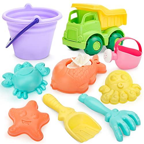Dreamon 9pcs Giochi Spiaggia Bambini, Materiale Morbido Secchiello Mare Formine e Camion Sabbia Giochi da Esterno Giardino per Ragazzi e Ragazze
