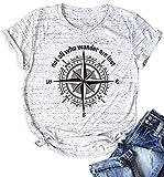 UIMNJHUKE LudyStore - Camiseta de viaje para mujer, diseño con texto 'Not All Who Wander Are Lost with Brújula