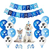 Decorazioni per feste di compleanno per animali domestici, confezione da 17 pezzi, con stampa di zampa di moggy, cappello di compleanno, sciarpa, bandana e palloncini con bandiera