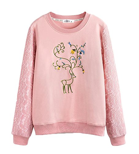 Broderie Art Casual Pullovers Sweatshirts - Rose