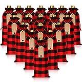 24 Bolsas de Vino de Navidad Cubiertas de Botellas de Vino a Cuadros de Búfalo Bolsas de Vino con Cordones con Cuerdas y Etiquetas para Favores de Fiesta de Boda Decoración de Fiesta