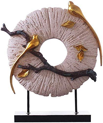 HYBUKDP Estatuas Resina creativa Escultura china de la luna hecha a mano de aves estatua Home Living armario de entrada de la sala escultura Oficina de sitio de la decoración del gabinete Crafts adorn