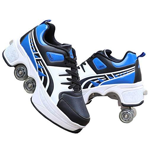 SHANGN Calzado Deportivo, Zapato De Deformación Multifuncional 2 En 1, Patines En Línea Cuchillas para Patines con Ruedas Ajustables Y Múltiples Tamaños para Mujeres Niños Niñas,BlueBlack-39