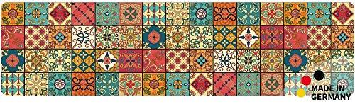 matches21 Küchenläufer Teppichläufer Teppich Läufer Marokko Retro Mosaik 50x180x0,4 cm waschbar