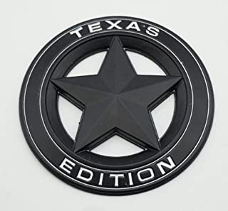 TrueLine Round Texas Edition Side Door/Tailgate Emblem Set of Two (Black With White Letters)