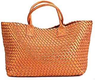 hand-woven women's bag spring summer new European and American tide single shoulder vegetable basket women casual bag (orange)