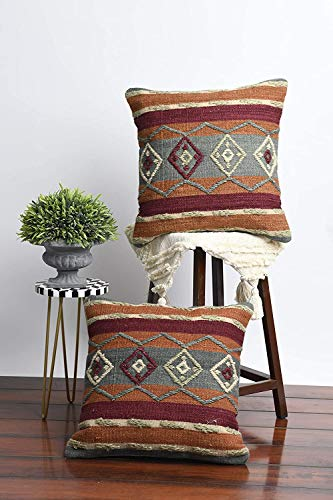 IMPEXART PVT LTD Throw Pillow Cover Funda Decorativa Tribal Boho Woven Tufted Funda de Almohada Funda de cojín para sofá Sofá, Dormitorio, Sala de Estar