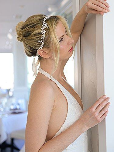 Crystal Bridal Headband with Silver Flowers