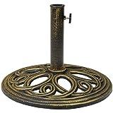 Charles Bentley Cast Iron Runde Gartenschirm/Parasol Standfuß mit antiken Bronze-Finish - 12Kg