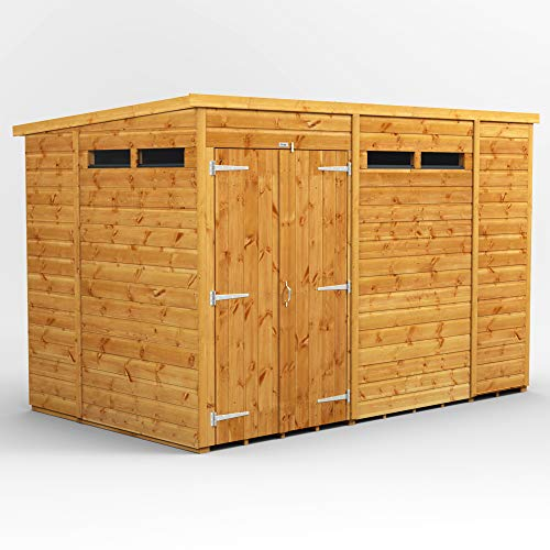 POWER | 10x6 Pent Security Wooden Garden Shed Double Door | Size 10 x 6 | Secure Sheds with super fast delivery
