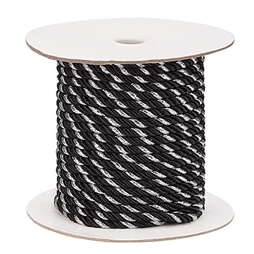 PandaHall 23 meter 5 mm tvinnad sladd trim satin glänsande rep nylon vridet rep 3-lager dekorativt rep för gardin bindning, heminredning, lådor