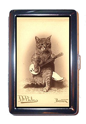 Cat Plays Banjo 1800s Photo Boston, Cute Stainless Steel ID or Cigarettes Case (King Size or 100mm)