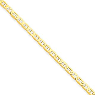 14k Yellow Gold 2mm Polished Solid Anchor Link Anklet