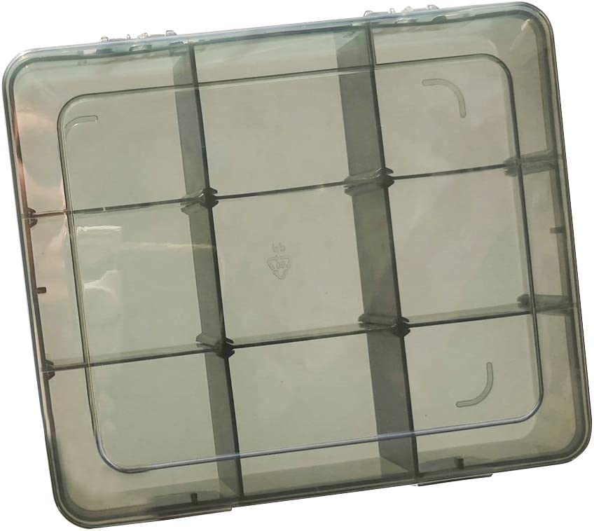 Upgrade 9 Grids Plastic Organizer Box with Dividers Plastic Jewelry Organizer Box Rings Box Organizer with Dividers for Beads Small Parts Container Earring Craft Organizer Buttons and so on/…