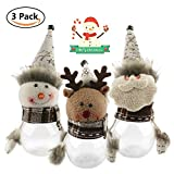 Byzy Christmas Candy Jar Set of 3, Santa Claus Snowman Elk Clear Plastic Xmas Candy Container Cute Christmas New Year Decoration