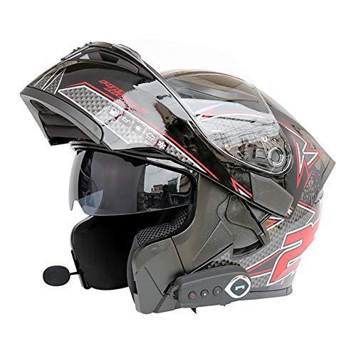 LBAFS Bluetooth Casco Inteligente Estéreo Calidad De Sonido Motocicleta Casco Abierto Crash Casco Doble Visera Modular hasta El Frente,Blackred-XL