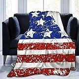 AEMAPE Feliz 4 de Julio, día de la Independencia de EE. UU, Manta de sofá de Lana, Manta de Viaje, Manta de Franela para Mantener Caliente