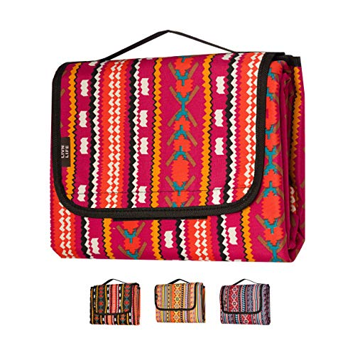 LIVN LIFE Outdoor Waterproof Picnic Blankets Extra Large. Sandproof & Waterproof Blanket for Beach, Park, Camping, Festivals or Travel. Large Picnic Blanket but Portable and Foldable (Red)