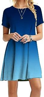 OMZIN - Vestido de mujer de manga corta, informal, de corte redondo, en tallas grandes, de 2XS a 5XL Jb-blau XL
