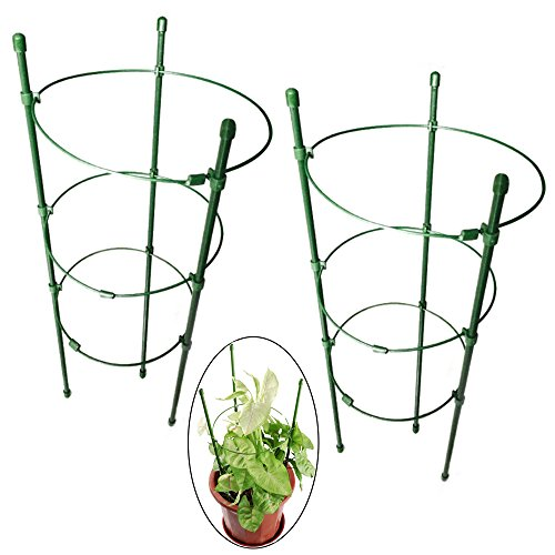 Orgrimmar Vine Trellis Support 17.7 Flowers Plants Cage Triple Plastic Pillar with Iron Rings Vine Plants Holder Stand Small Pot Plant Trellis for Home Garden Balcony(Pack of 2)