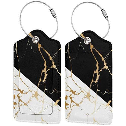 Etiquetas de equipaje de mármol dorado abstracto en blanco y negro con...