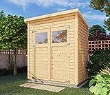 Alpholz Gerätehaus Mollie aus Fichten-Holz | Gartenhaus mit 14mm Wandstärke | Holzhaus inklusive Montagematerial | Geräteschuppen Größe: 191 x 139 cm | Pultdach