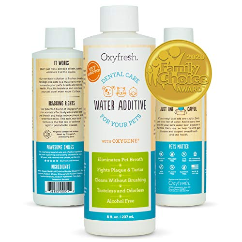 Oxyfresh Premium Pet Dental Care Solution Pet Water Additive: Best Way to Eliminate Bad Dog Breath and Cat Breath  Fights Tartar and Plaque  So Easy just add to Water Vet Recommended 8 oz