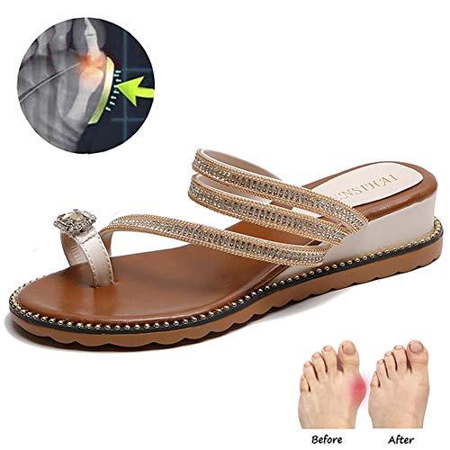 Frauen-Mode Strass Pailletten Slippers Clip Zehekeil Flip Flops Schmerzlinderung Hallux Valgus Korrektur Schuhe,Beige,39