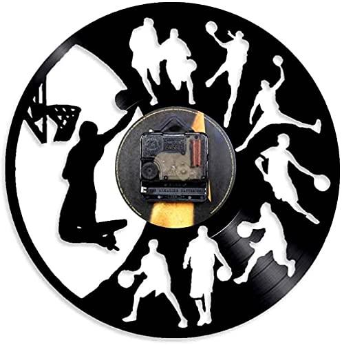 Baloncesto Slam Dunk Gimnasio Decoración del hogar Reloj de Pared Jugador de Baloncesto Silueta Slam Dunk Disco de Vinilo Reloj de Pared Decoración de Pared