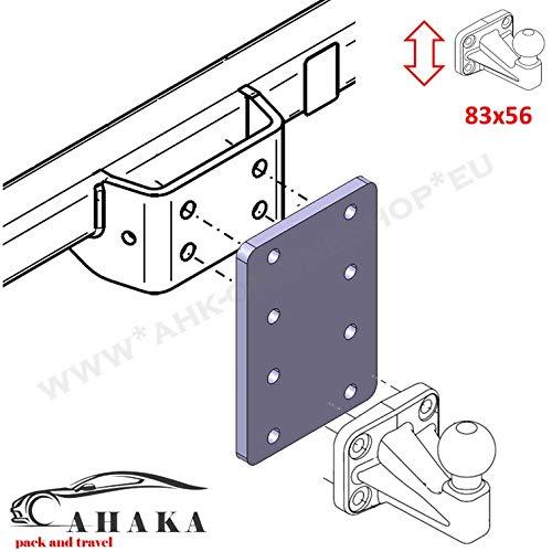 Placa adaptadora Universal para Ajuste de Altura 4 x 56 del Enganche de Remolque para Bolas de Brida de 4 Agujeros (Altura Regulable AHK).