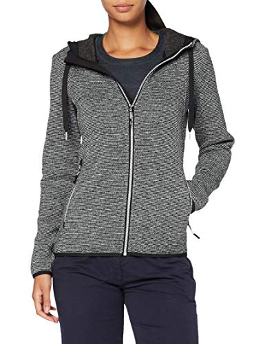 CMP – F.lli Campagnolo Damen Fleece Jacket Strickfleecejacke mit Kapuze, Gesso-Nero, D46, 30H1906