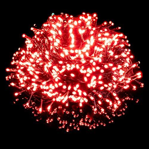 Nataland Catena Luminosa 500 Led - 30 Metri Da Interno Ed Esterno, Serie Certificata Con Controller 8 Funzioni, Per Illuminazione Casa, Vetrine, Negozio e Albero di Natale (Rosso, 500 Led - 30 Metri)