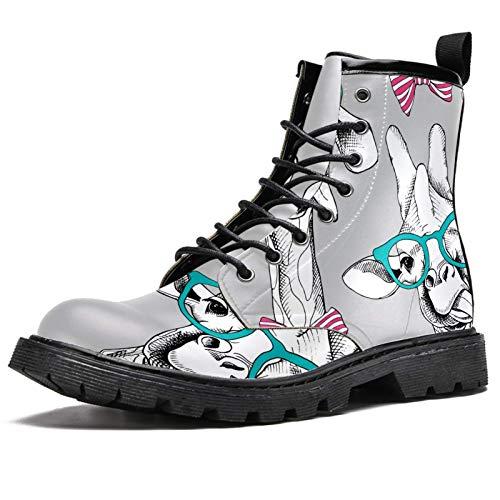 LORVIES Jirafas en los vasos con arco, botas altas para hombre, zapatos de cordones de piel informales, (multicolor), 40 EU
