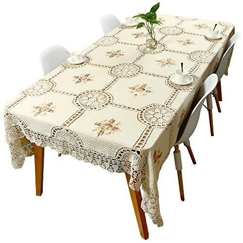 Yizunnu Mantel rectangular, hecho a mano de algodón de ganchillo, mantel...