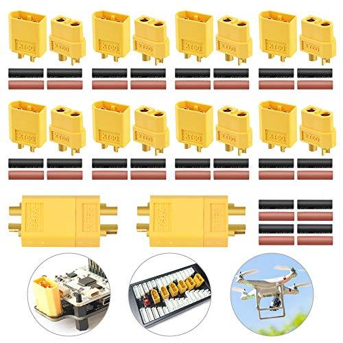 EMAGEREN 10 Paar XT60 Stecker XT60 Batterie Anschlüsse XT60 Buchse Modellbau Stecker XT60 Männlich Weiblich Rundstecker Stecker mit Wärmeschrumpf für RC Lipo Akku
