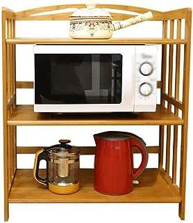 GOHHK Horno Microondas Rejilla Estante Aparador Gabinete Té Gabinete Cocina Estante del Gabinete Vino 3 Capas Madera Maciz...