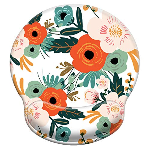 iDonzon Ergonomic Mouse Pad with Wrist Support Gel, Cute Large Wrist Pad with Non-Slip Rubber Base, Easy Typing & Pain Relief, Flower